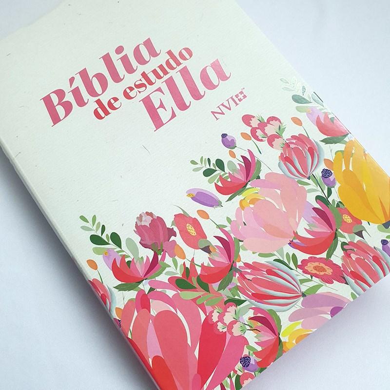 Bíblia de Estudo Ella   NVI   Letra Média   Capa Flexível Flores  - Universo Bíblico Rs