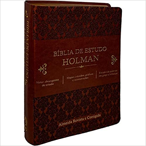Bíblia de Estudo Holman - Couro sintético Marrom: Almeida Revista e Corrigida (ARC)