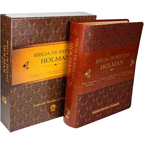 Bíblia de Estudo Holman - Couro sintético Marrom: Almeida Revista e Corrigida (ARC)  - Universo Bíblico Rs