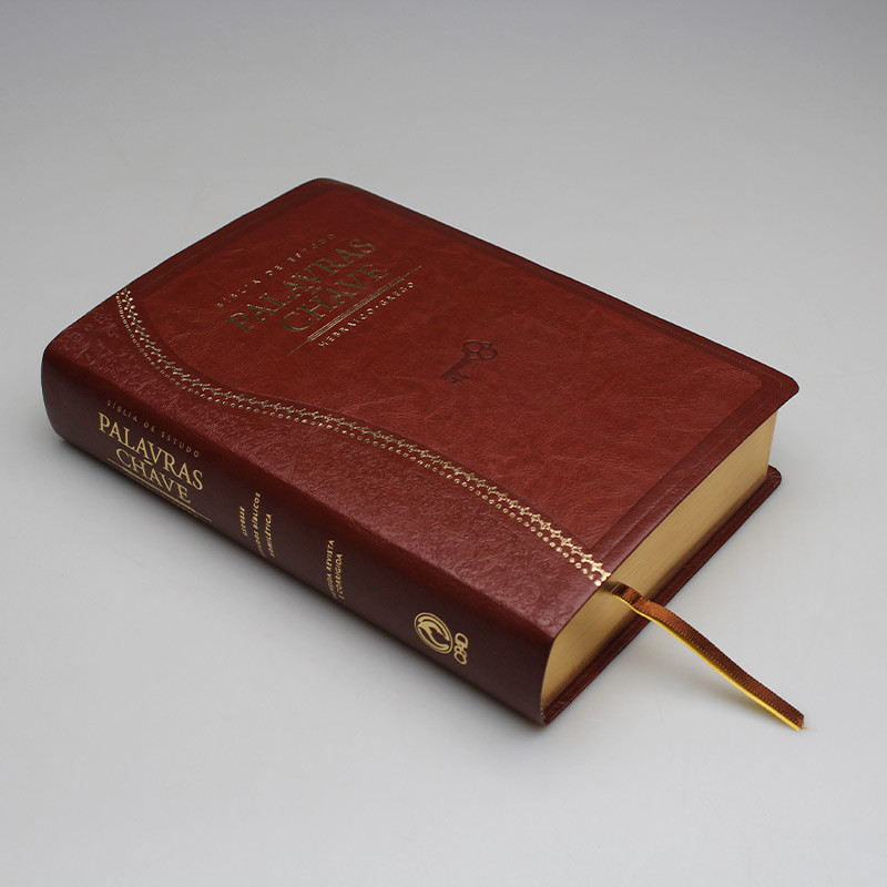 Bíblia de Estudo Palavras Chave | Letra Normal | ARC | Marrom/Dourado  - Universo Bíblico Rs
