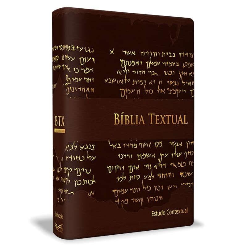 Bíblia de Estudo Textual | Letra Gigante | Capa Marrom Luxo  - Universo Bíblico Rs