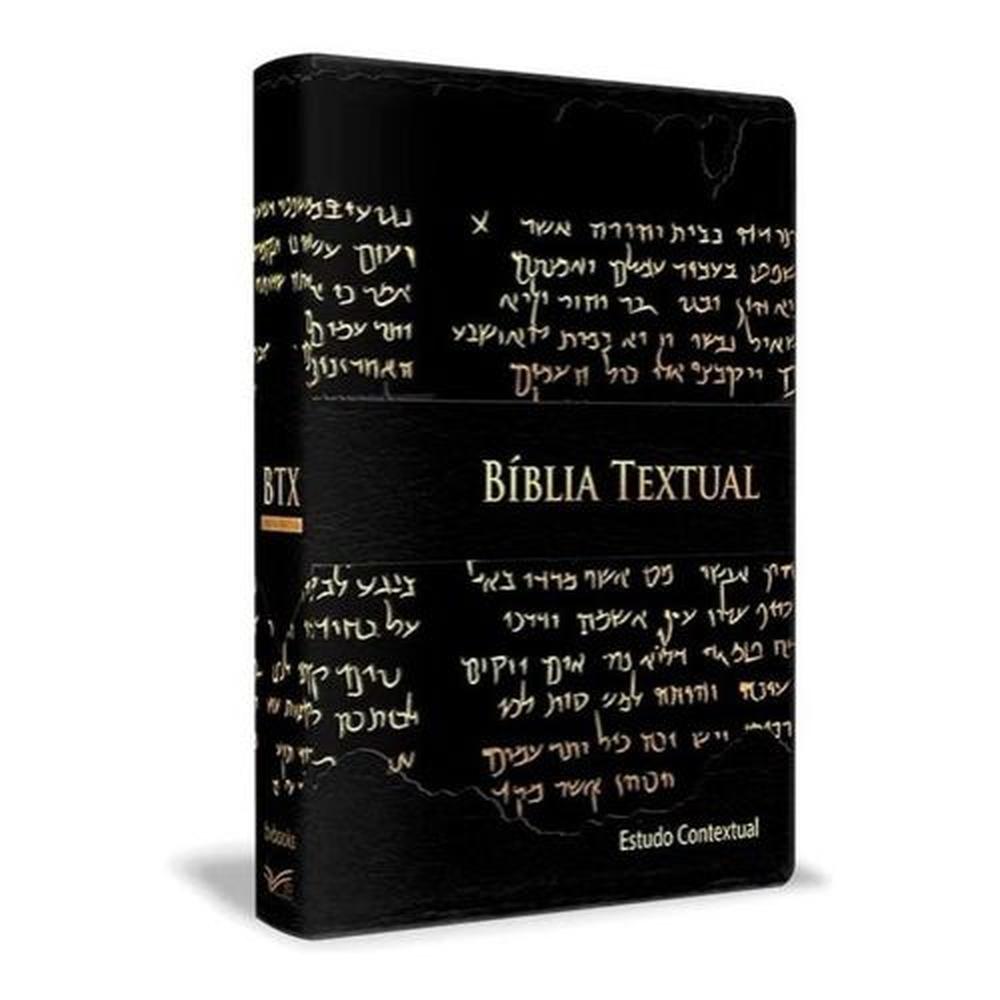 Bíblia de Estudo Textual   Letra Gigante   Capa Preta Luxo  - Universo Bíblico Rs
