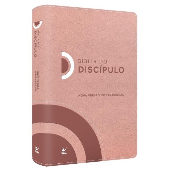 Bíblia do Discípulo NVI Luxo  capa rosa  - Universo Bíblico Rs