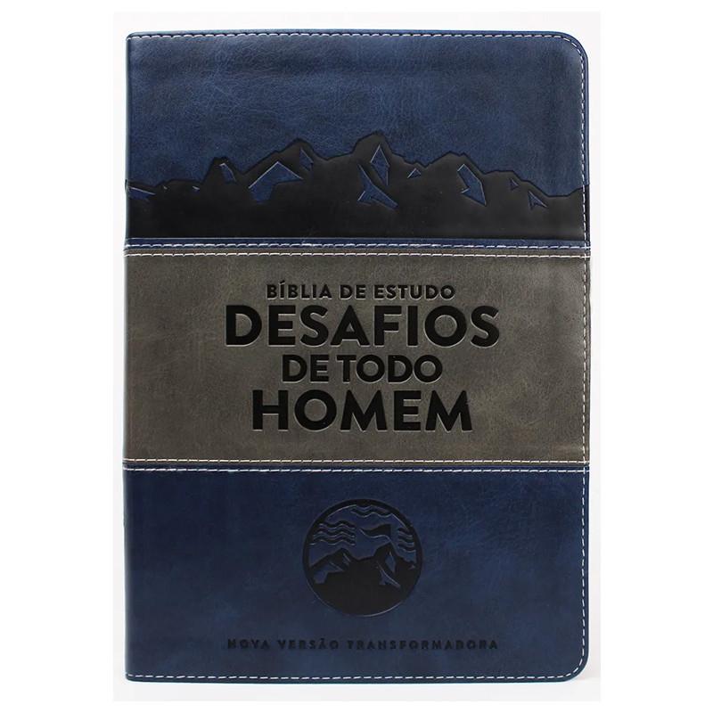 BÍBLIA ESTUDO DESAFIOS DE TODO HOMEM- AZUL/CINZA  - Universo Bíblico Rs