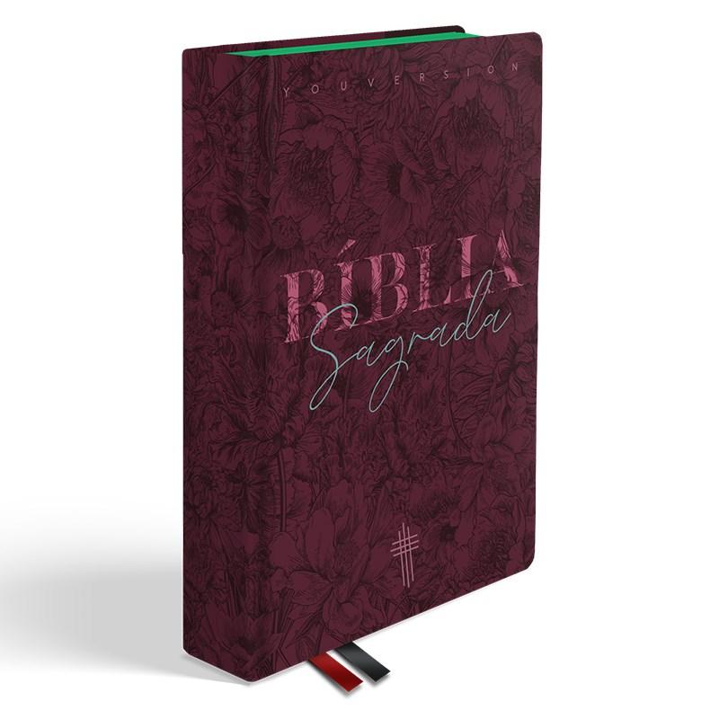 Bíblia Floral Mix Vinho YouVersion | NTLH | Letra Normal | Capa Soft-Touch  - Universo Bíblico Rs