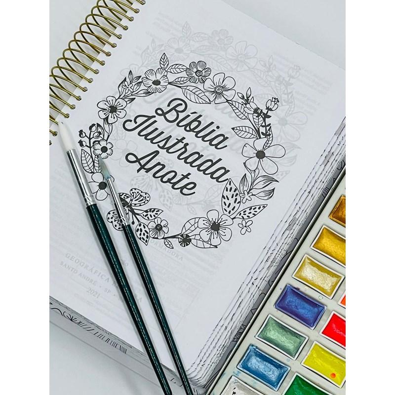 Bíblia Ilustrada Anote NVT espiral - Florescer: Bíblia Ilustrada Anote traz ilustrações e espaços para à sua criatividade  - Universo Bíblico Rs