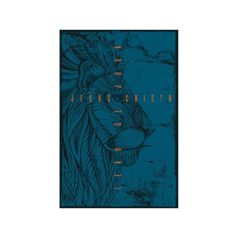 Bíblia Leão de Judá   NVT Letra Grande   Capa Soft Touch Azul  - Universo Bíblico Rs