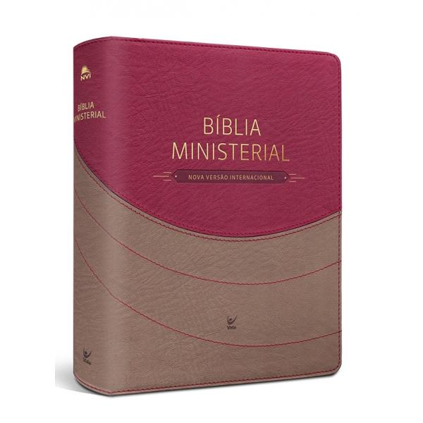 Bíblia Ministerial NVI  capa duotone marrom claro e vermelha  - Universo Bíblico Rs