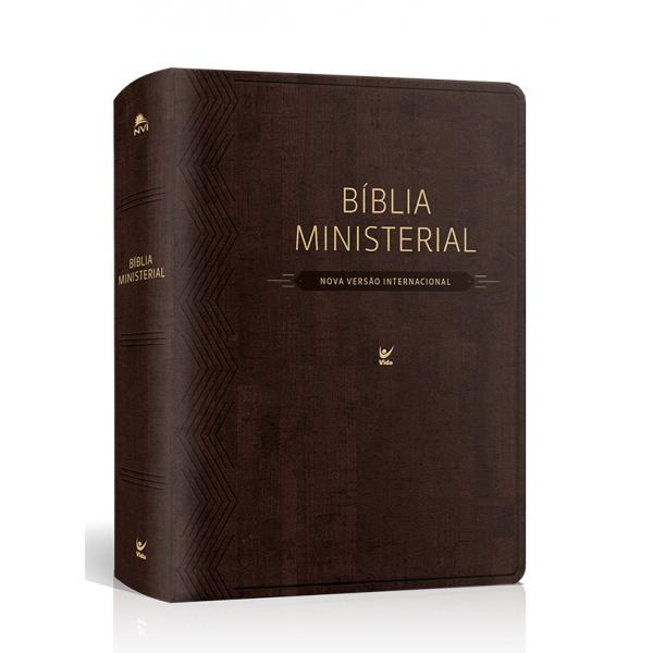 Bíblia Ministerial NVI  capa marrom escuro  - Universo Bíblico Rs