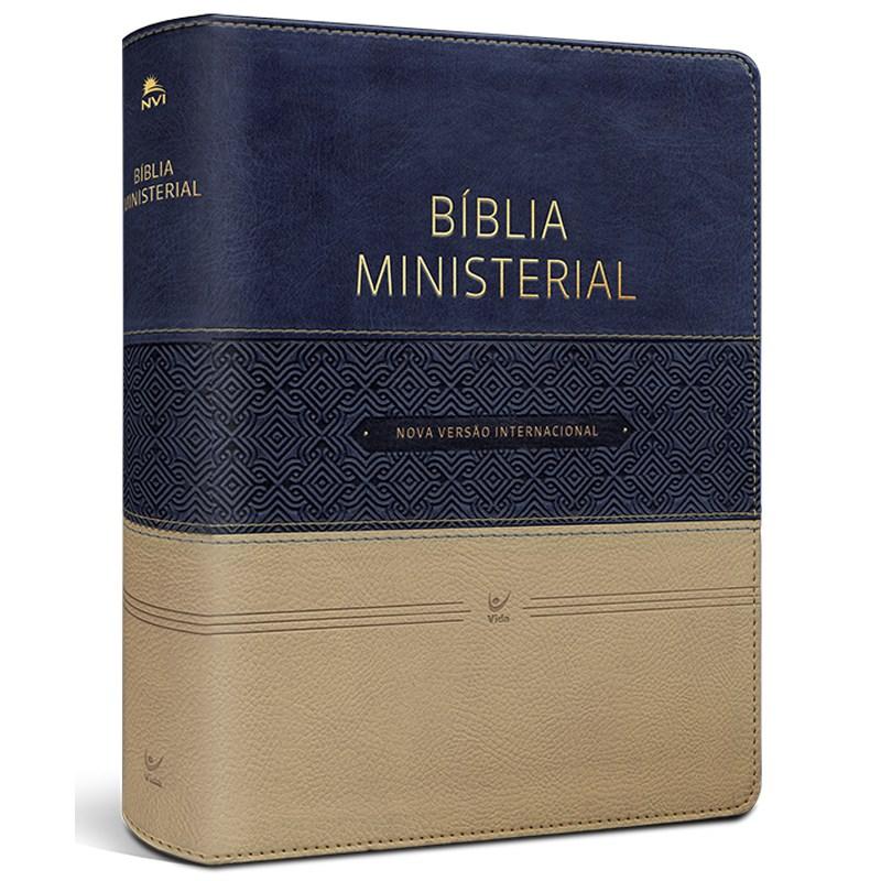 Bíblia Ministerial | NVI Letra Normal | Capa Azul e Bege  - Universo Bíblico Rs