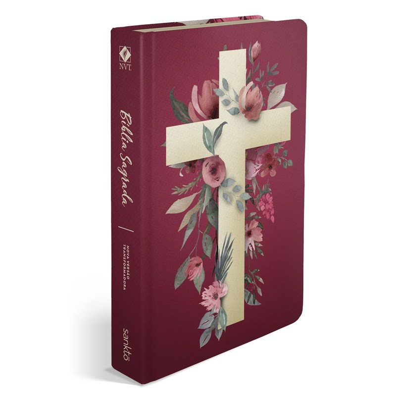 Bíblia NVT 960 Cruz Flores - Letra Normal: Nova Versão Transformadora  - Universo Bíblico Rs