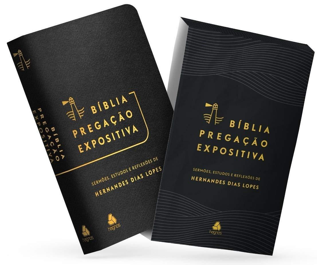 Bíblia Pregação Expositiva   RA  PU luxo preto  - Universo Bíblico Rs