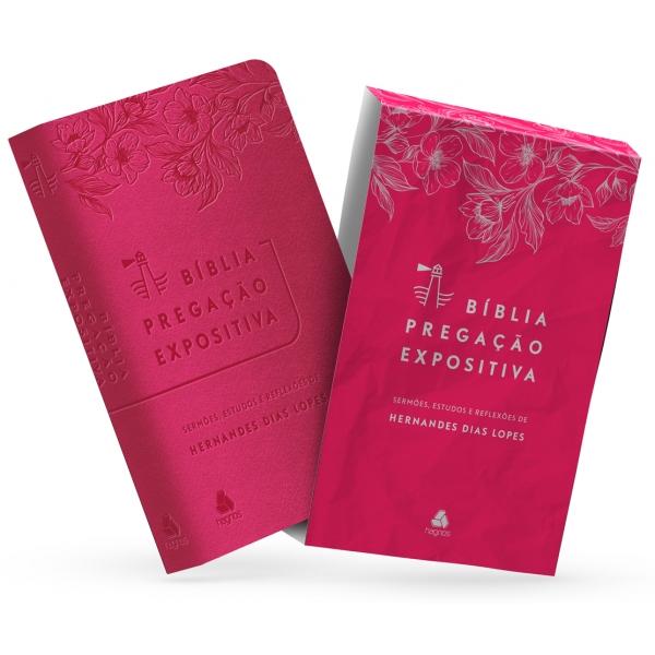 Bíblia Pregação Expositiva | RA | PU luxo rosa - flores