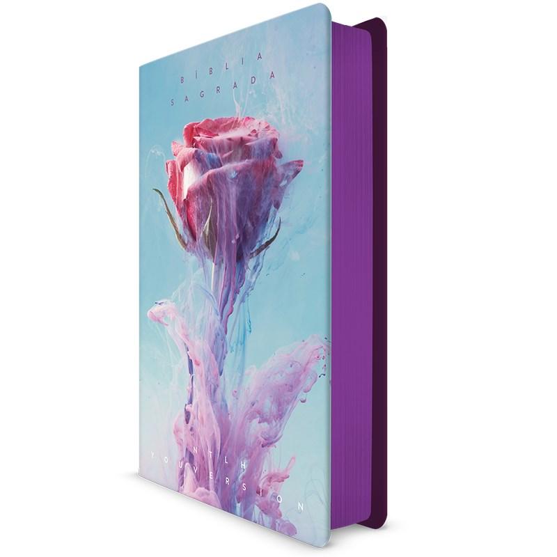 Bíblia Rosa de Saron YouVersion   NTLH   Letra Normal   Capa Soft-Touch  - Universo Bíblico Rs
