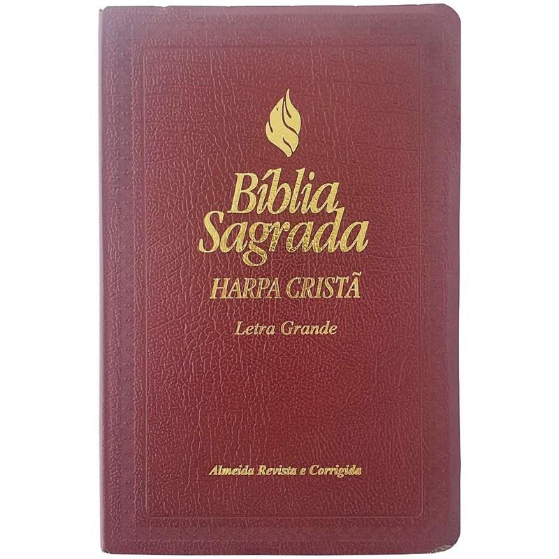 Bíblia Sagrada   ARC   Letra Grande   Harpa Cristã   Capa Vinho  - Universo Bíblico Rs