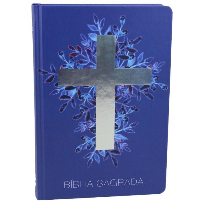 Bíblia Sagrada Cruz - Capa azul  - Universo Bíblico Rs
