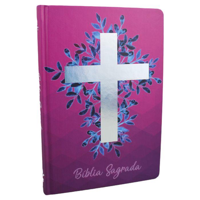 Bíblia Sagrada Cruz - Capa vinho  - Universo Bíblico Rs