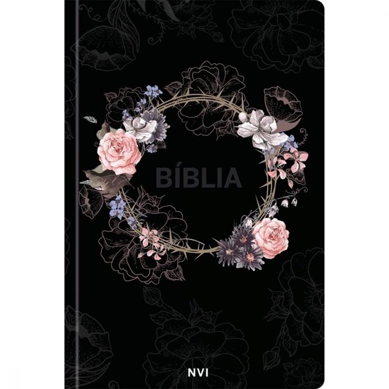 Bíblia Sagrada Flores Preta   Nvi Capa Dura   Pão Diário  - Universo Bíblico Rs
