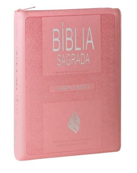 Bíblia Sagrada   Letra Gigante com Harpa Cristã   ARC   Rosa / Zíper   c/ Índice  - Universo Bíblico Rs