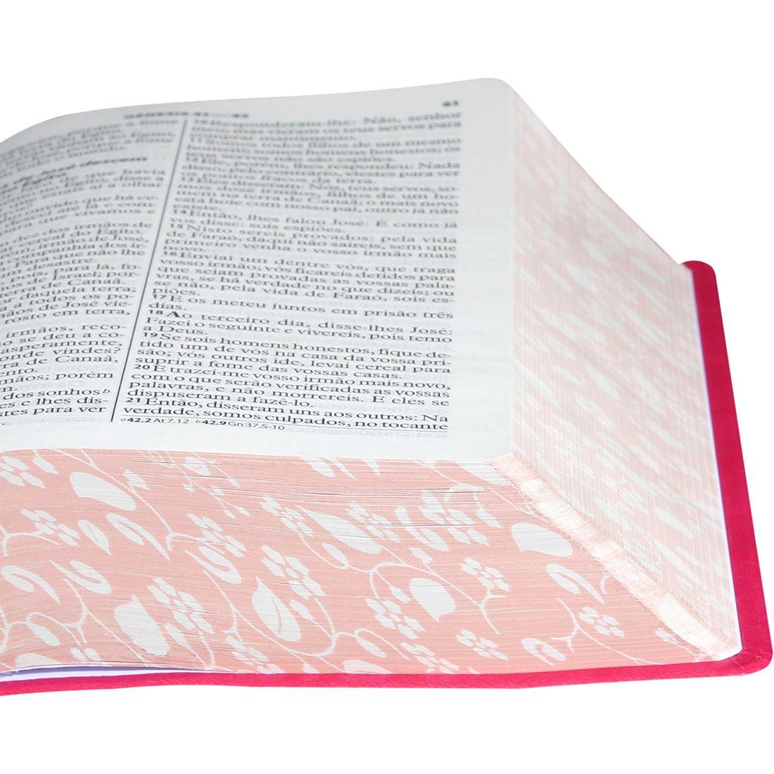 Bíblia Sagrada Letra Gigante / Pink  Folhas - (ARA)  - Universo Bíblico Rs