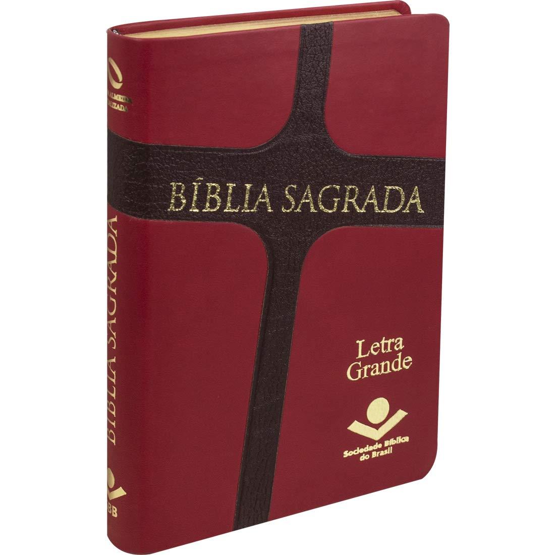 Bíblia Sagrada Letra Grande / Vermelho Cruz - (NAA)  - Universo Bíblico Rs