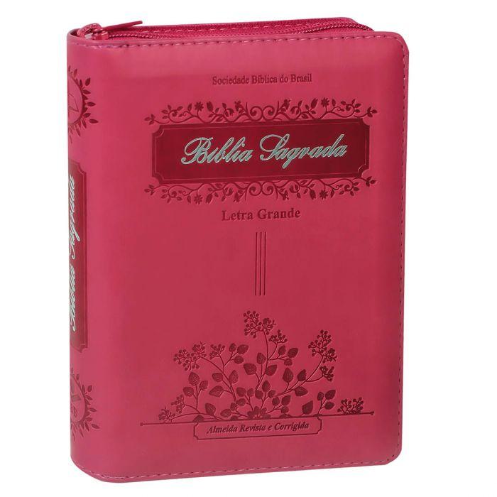 Bíblia Sagrada Letra Grande / Pink / Ziper - (ARC)  - Universo Bíblico Rs