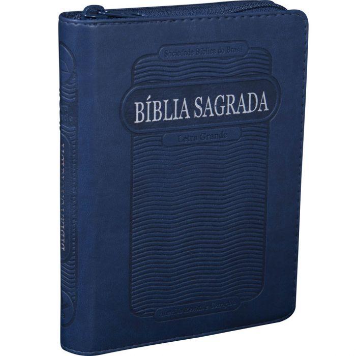 Bíblia Sagrada Letra Grande / Azul / Ziper - (ARC)