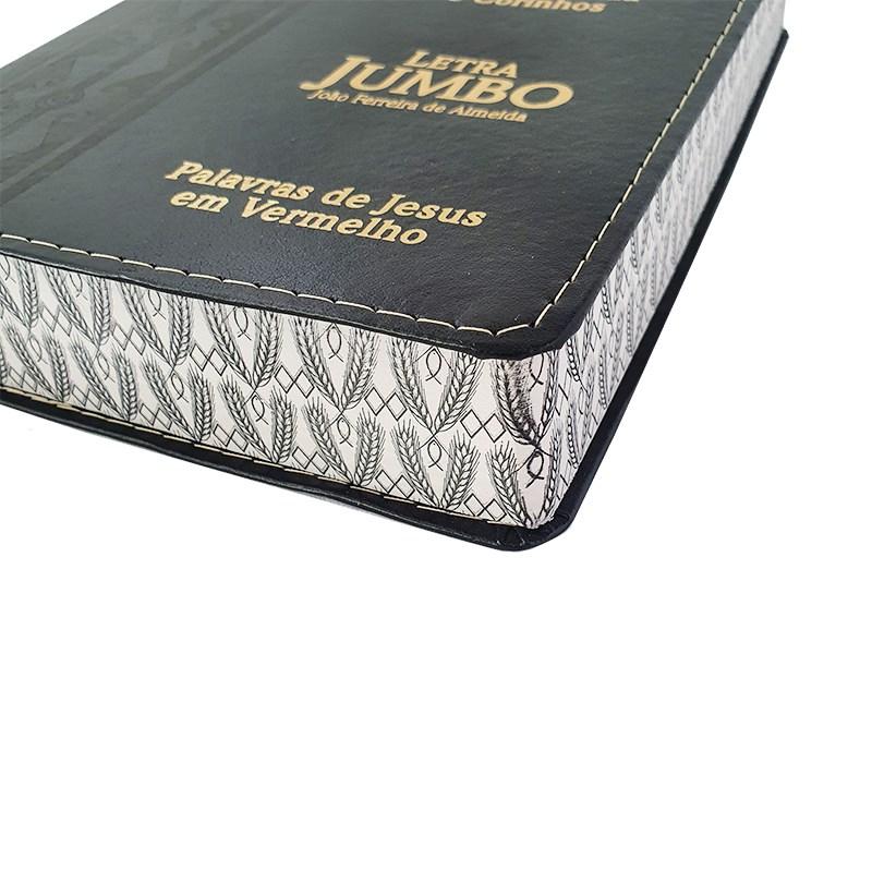 Bíblia Sagrada Letra Jumbo | ARC | Harpa Avivada e Corinhos | Capa PU Luxo Arabesco Preta  - Universo Bíblico Rs