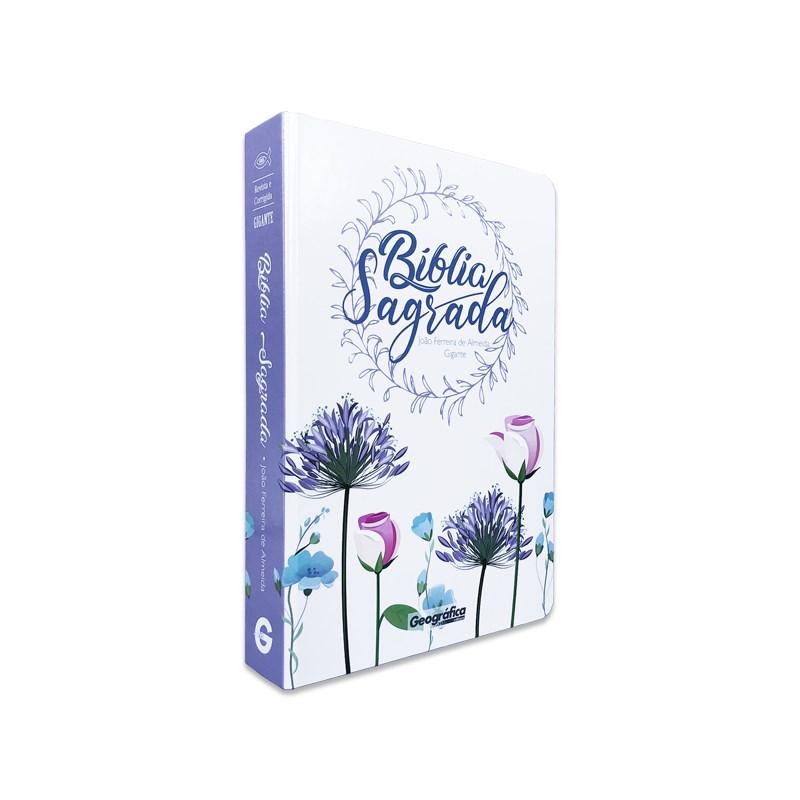 Bíblia Sagrada RC Gigante (Capa Semi-Luxo Floral Branca)  - Universo Bíblico Rs
