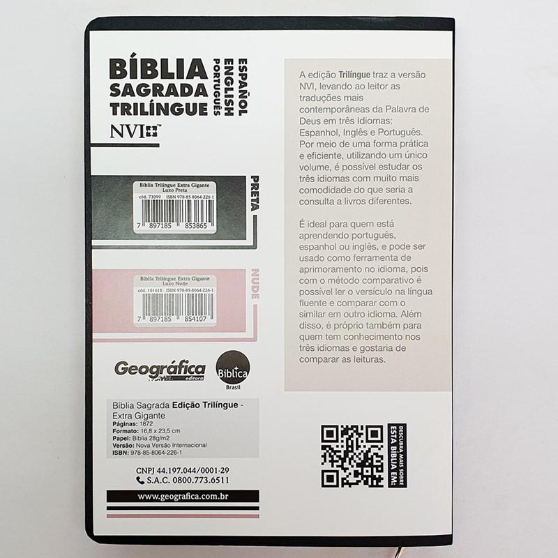 Bíblia Sagrada Trilíngue   NVI Extra Gigante   Letra Normal   Capa Luxo Preta  - Universo Bíblico Rs
