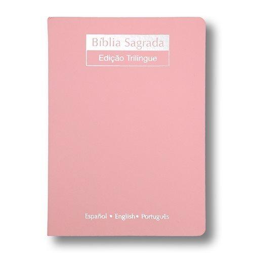 Bíblia Sagrada Trilíngue   NVI   Letra Normal   Luxo   Nude  - Universo Bíblico Rs