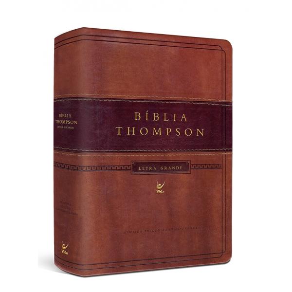 Bíblia Thompson AEC Letra Grande com índice  capa luxo marrom claro e escuro  - Universo Bíblico Rs