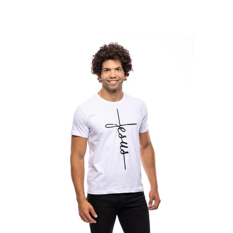 Camiseta Jesus Cruz / Branca  - Universo Bíblico Rs