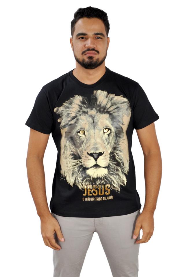 Camiseta Leão De Judá / Preta  - Universo Bíblico Rs