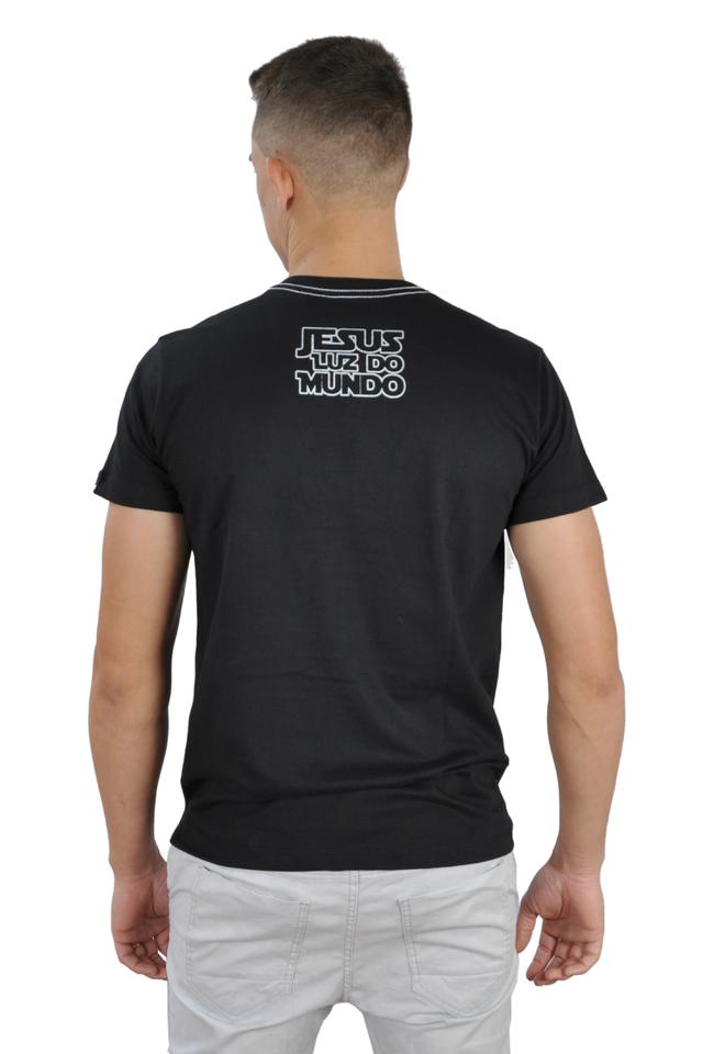 Camiseta Luz do Mundo / Preto e dourado  - Universo Bíblico Rs