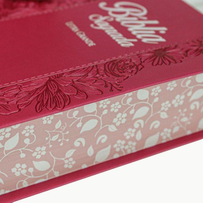 Bíblia Sagrada Letra Grande / Pink Flor - (NAA)  - Universo Bíblico Rs