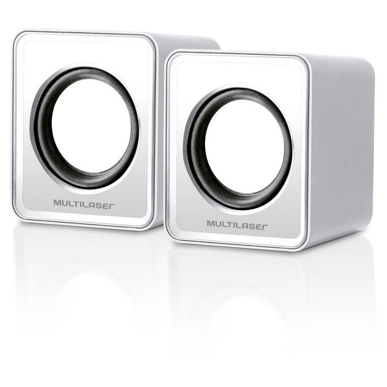 Caixa de Som Multilaser Mini 2.0 3W Rms Branco