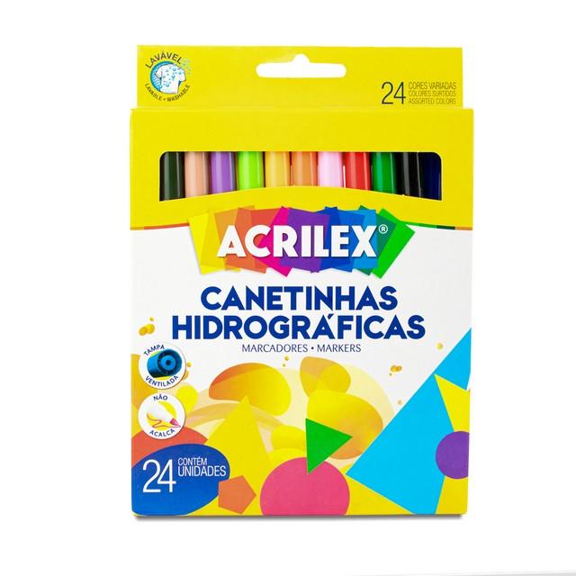 Canetinha Hidrográfica Acrilex 24 Cores