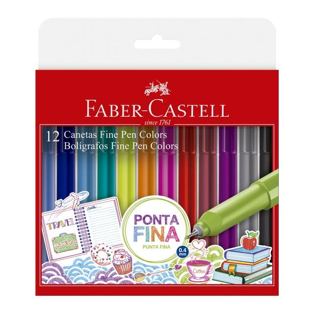 Kit Caneta Fine Pen Faber-Castell 12 Cores