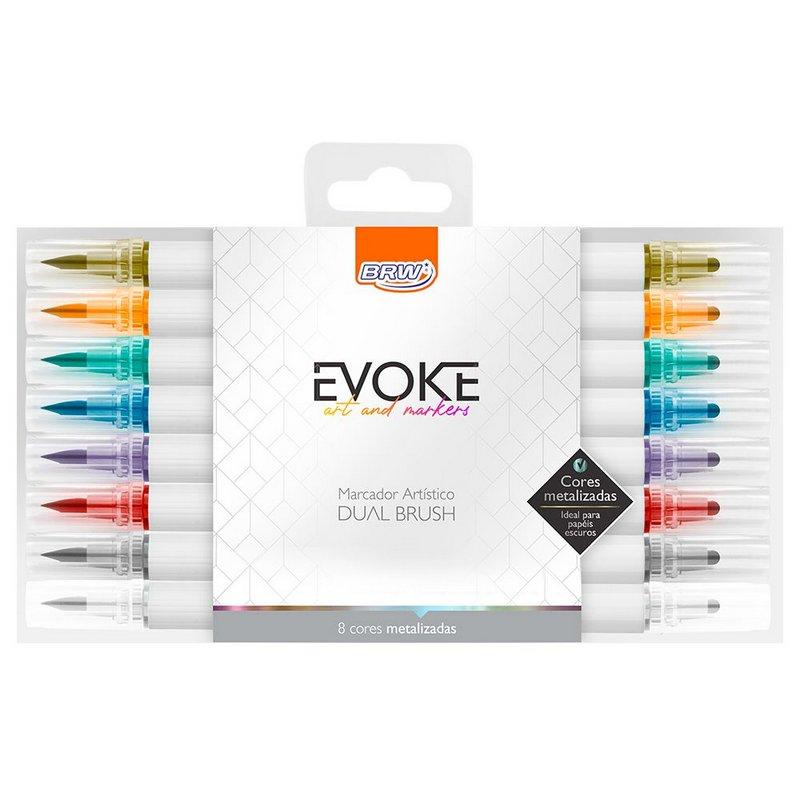 Marcador Artístico Evoke Dual Brush Pen Metalizado 8 cores
