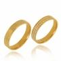 Aliança de Ouro 18k Feminina com 2 Fileiras Cravejadas - ALC785R