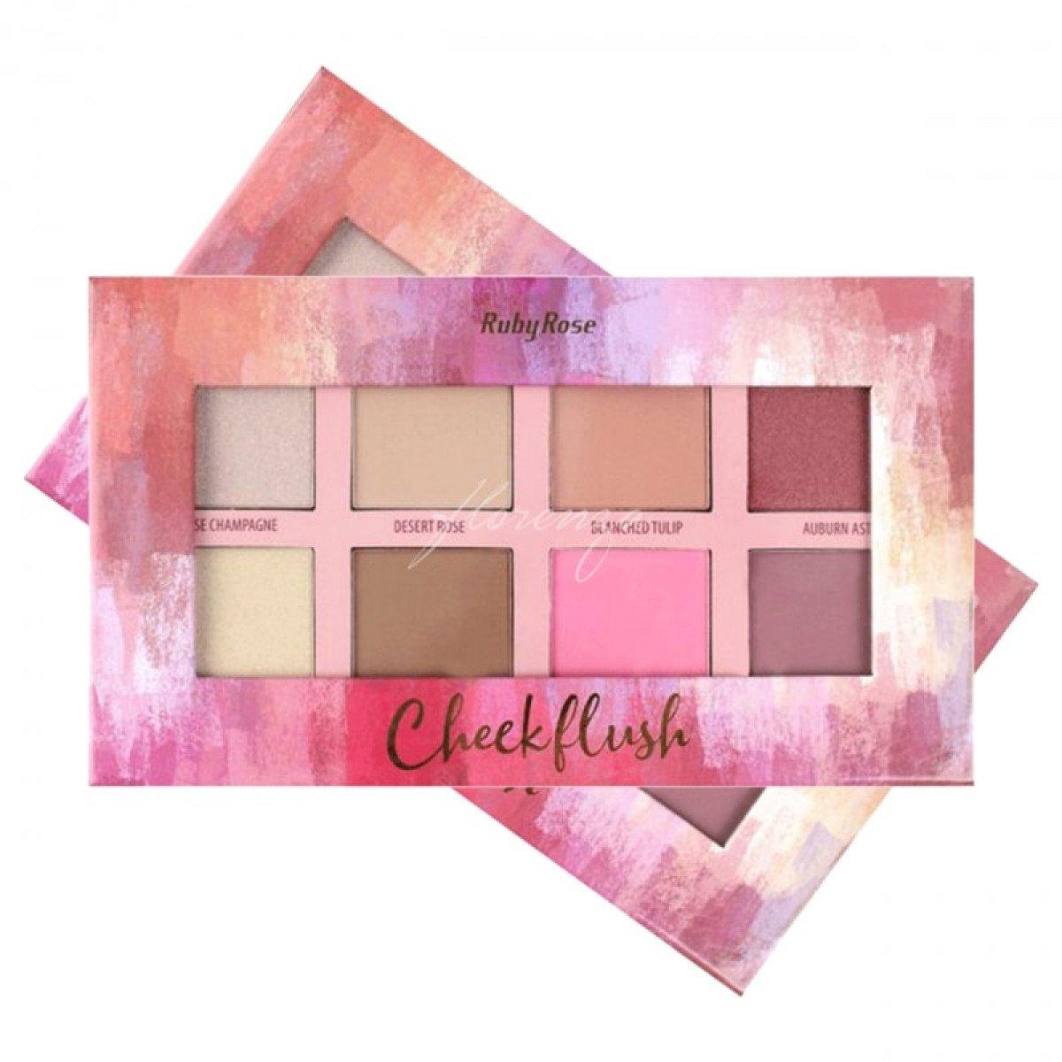 Paleta de Contorno Cheek Flush 8 Cores Ruby Rose