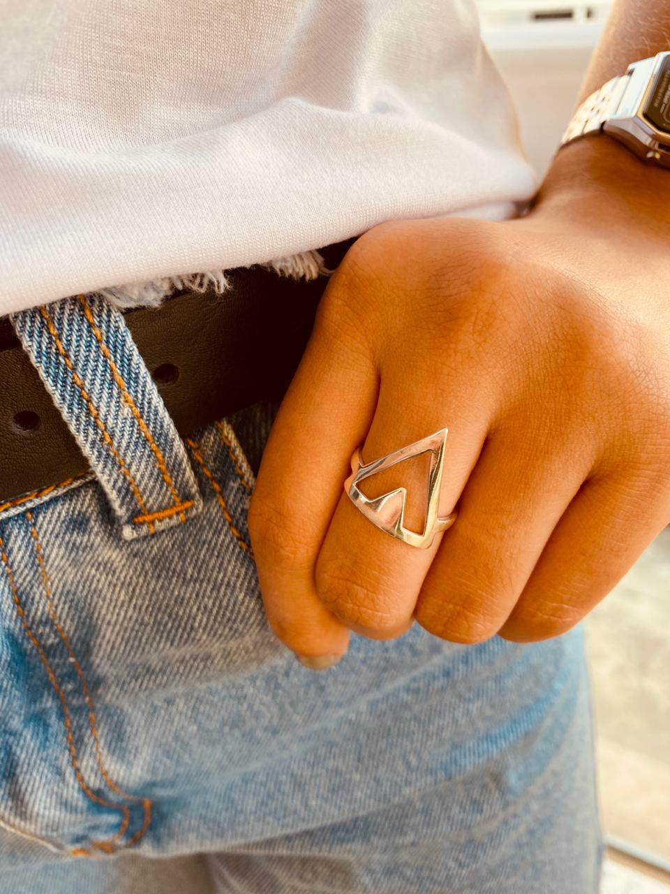Anel de Prata Triângulo Duplo Liso