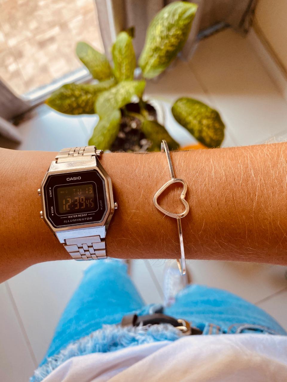Bracelete de Prata Liso Coração Vazado