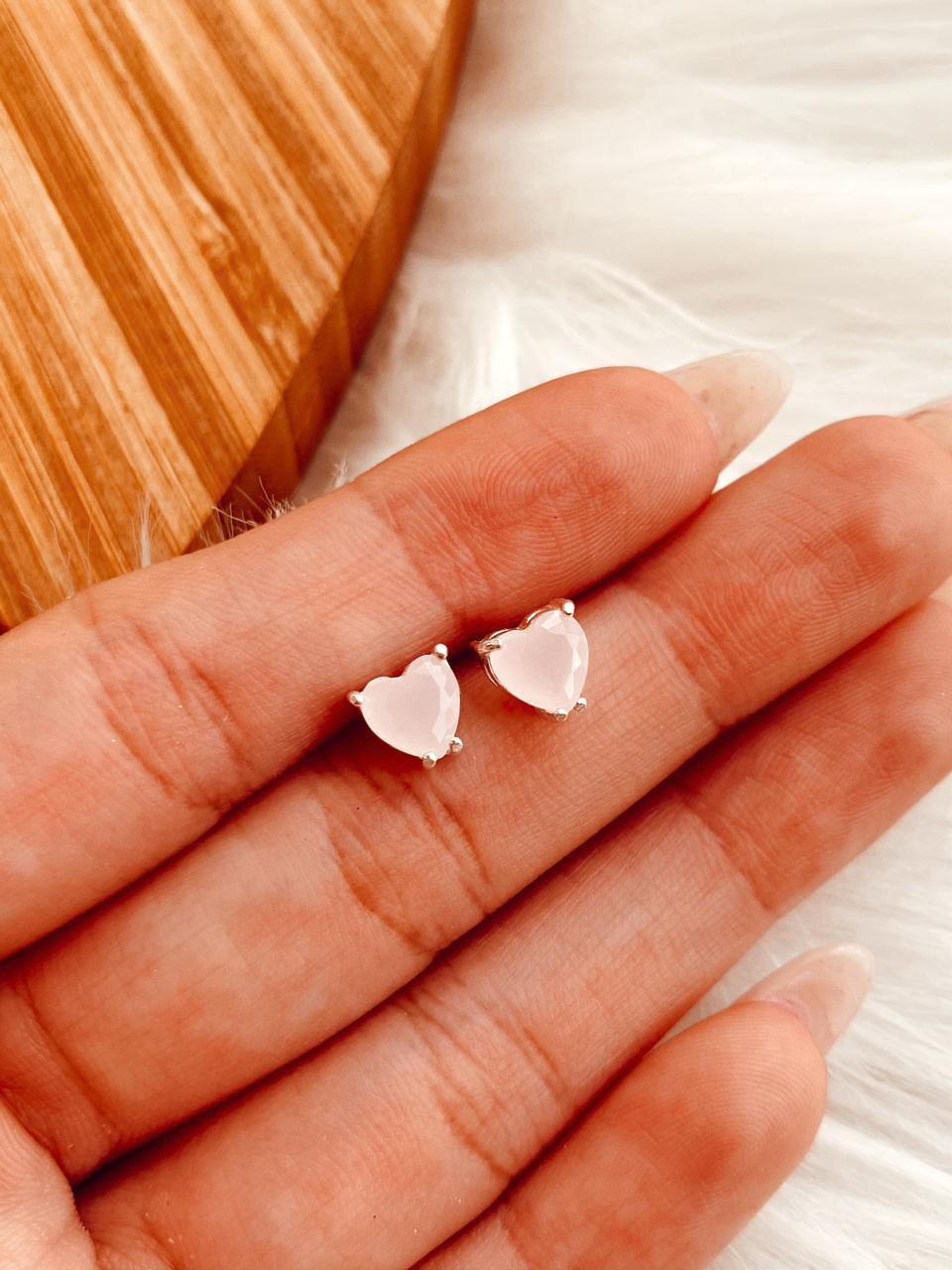 Brinco de Prata Coração Quartzo Rosa