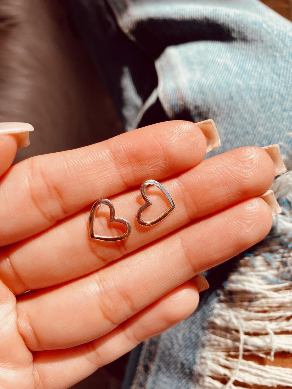 Brinco de Prata Coração Vazado