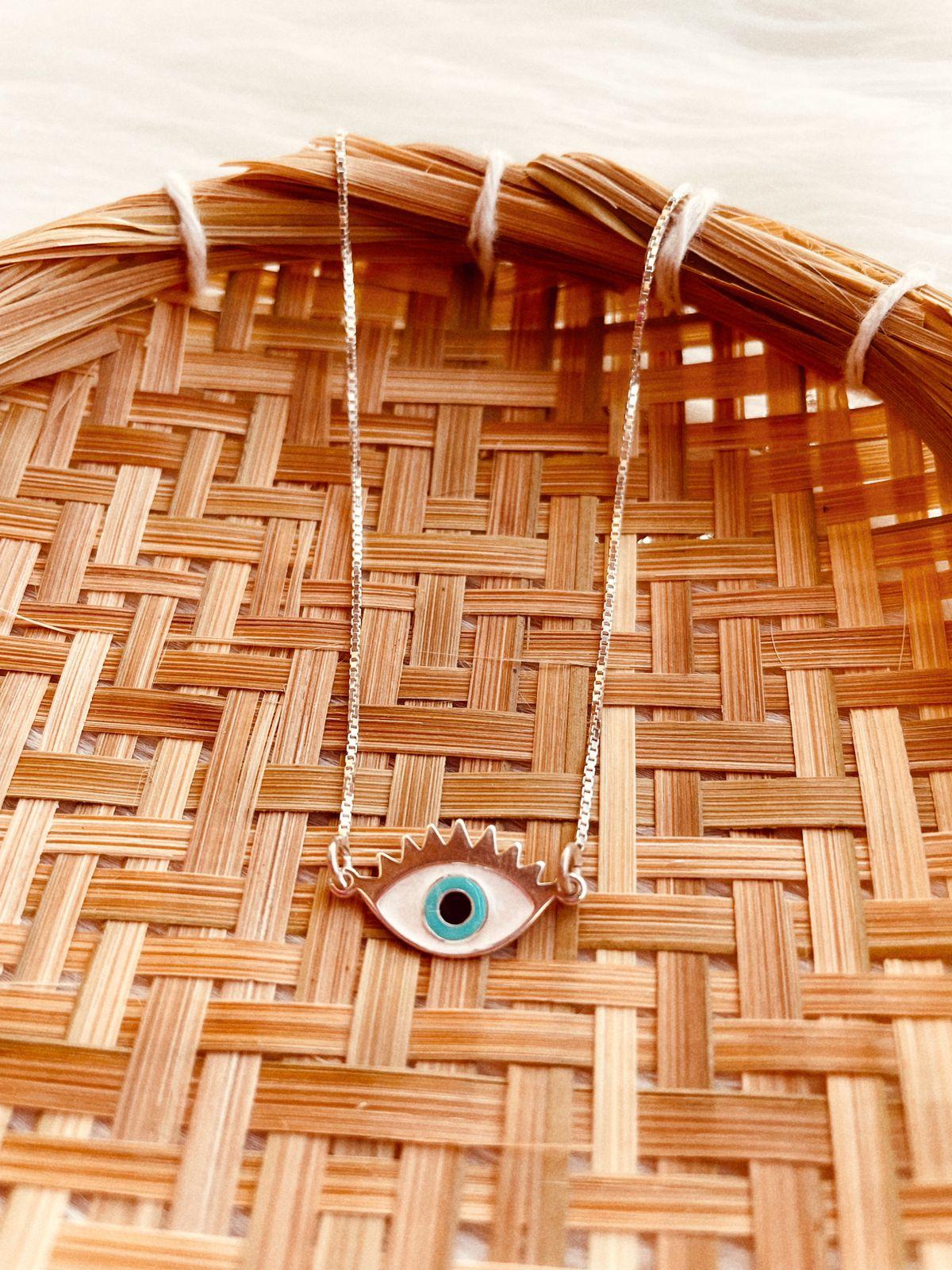 Colar de Prata Olho Grego Cílios