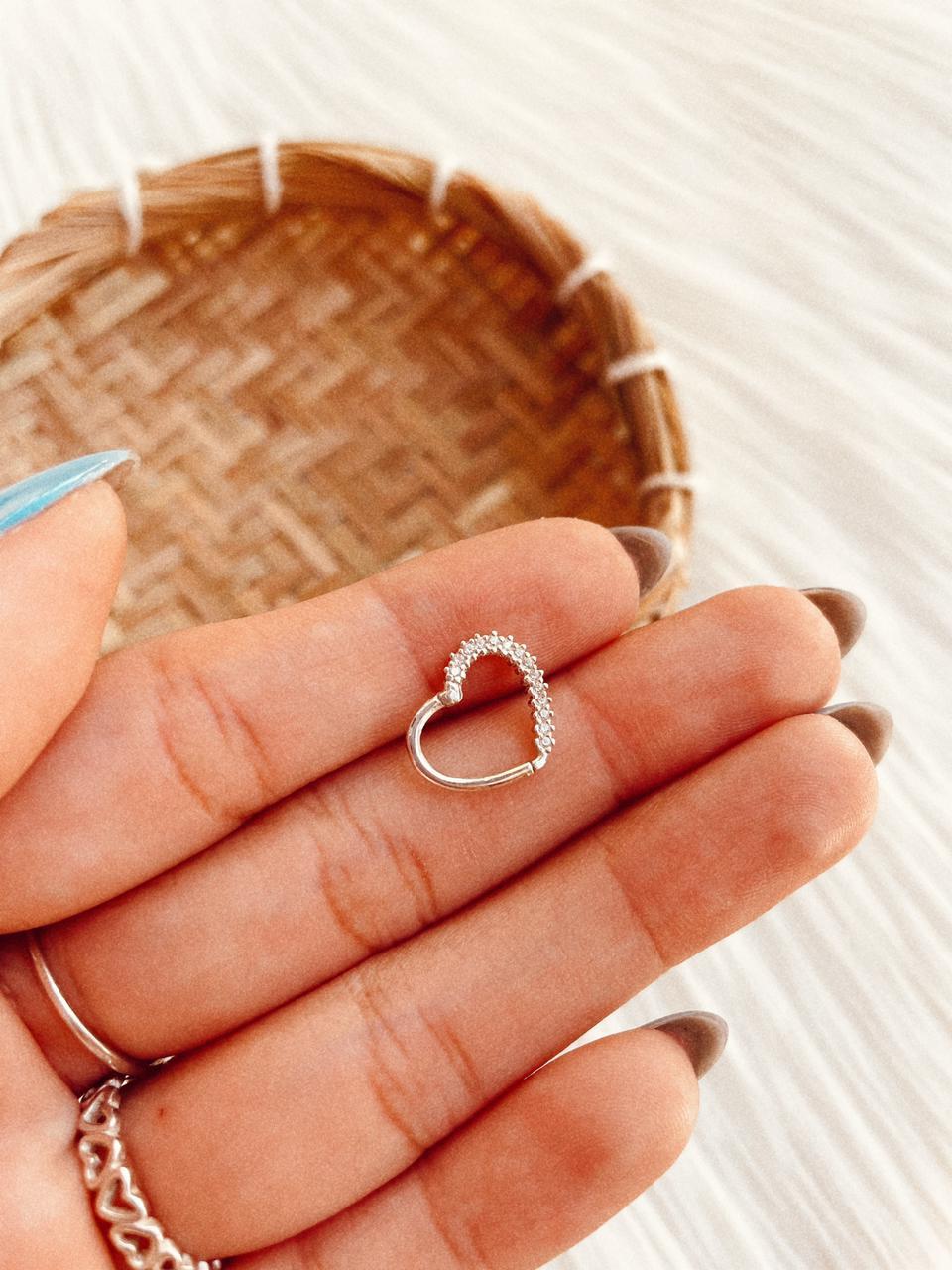 Piercing de Prata Furo Coração Click