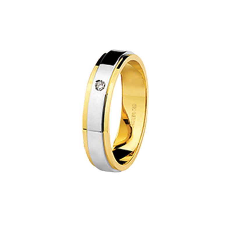 Aliança de Ouro Amarelo 18K com Friso em Ouro Branco 18K com Diamante