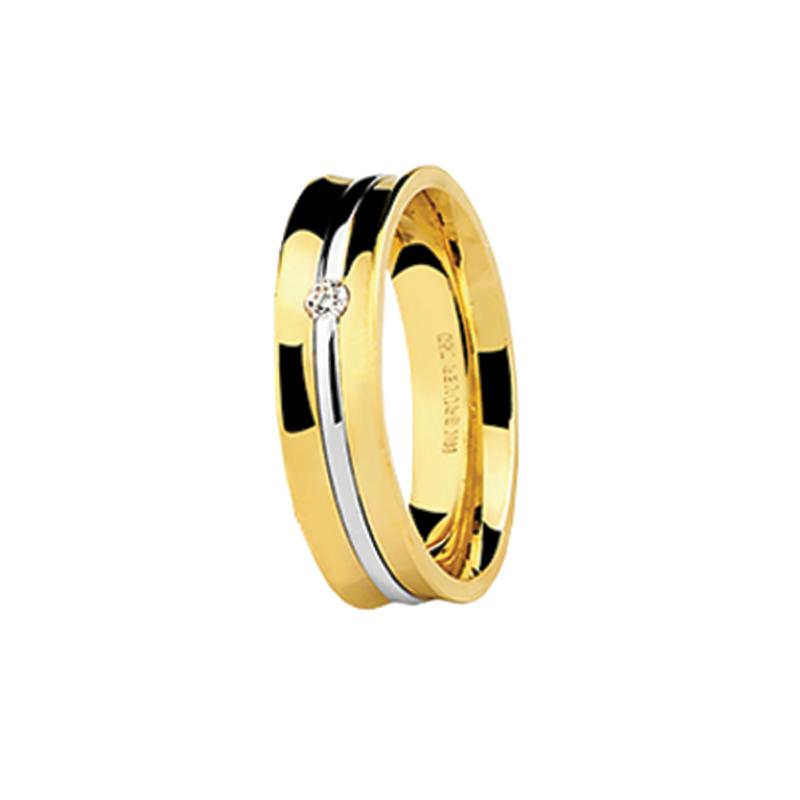 Aliança de Ouro Amarelo 18K Côncava com Friso em Ouro Branco e Diamante